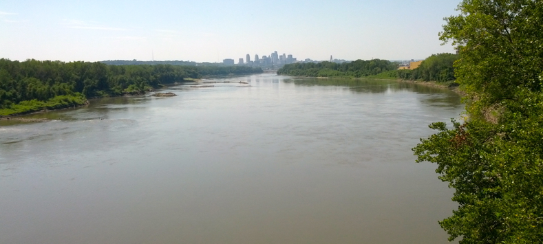 Missouri River with Kansas City, Missouri skyline taken from the Chouteau Trafficway bridge
