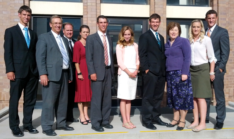 New friends from Tabiona, Utah at a meeting at the LDS stake center church in Duchesne, Utah